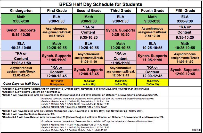 Hcpss Calendar 2022.Half Day Schedule Bushy Park Elementary School